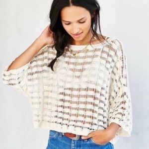 NWT XS Urban Outfitters Cream Butterfly Top